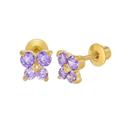 18k Gold Plated Purple Crystal Butterfly Girl Baby Toddlers Screw Back