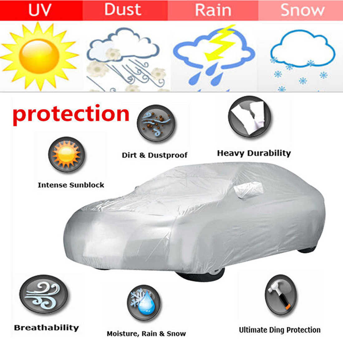 Sun UV Dust Rain Resistant All Weather Protective Car Cover