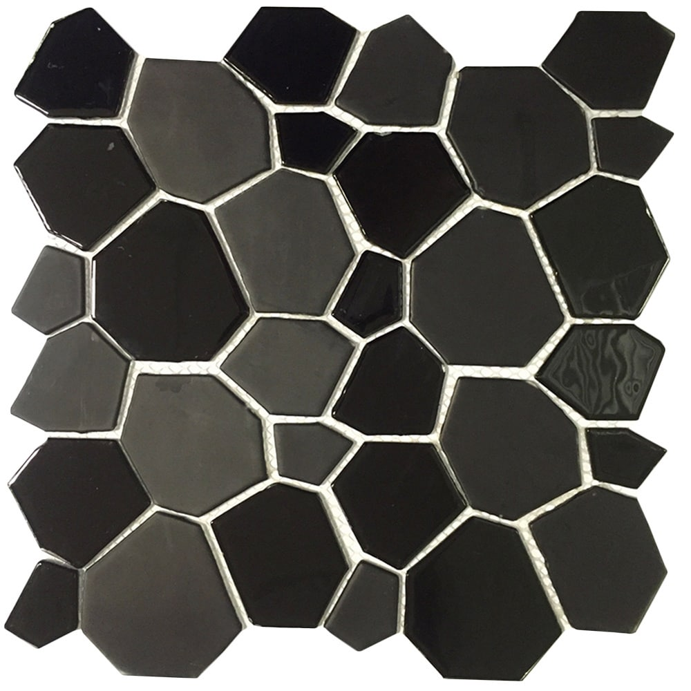 EKBInnovations Instant Mosaic Peel and Stick 12-Inch Black Glass Mosaic Wall Tile (6 sheets)