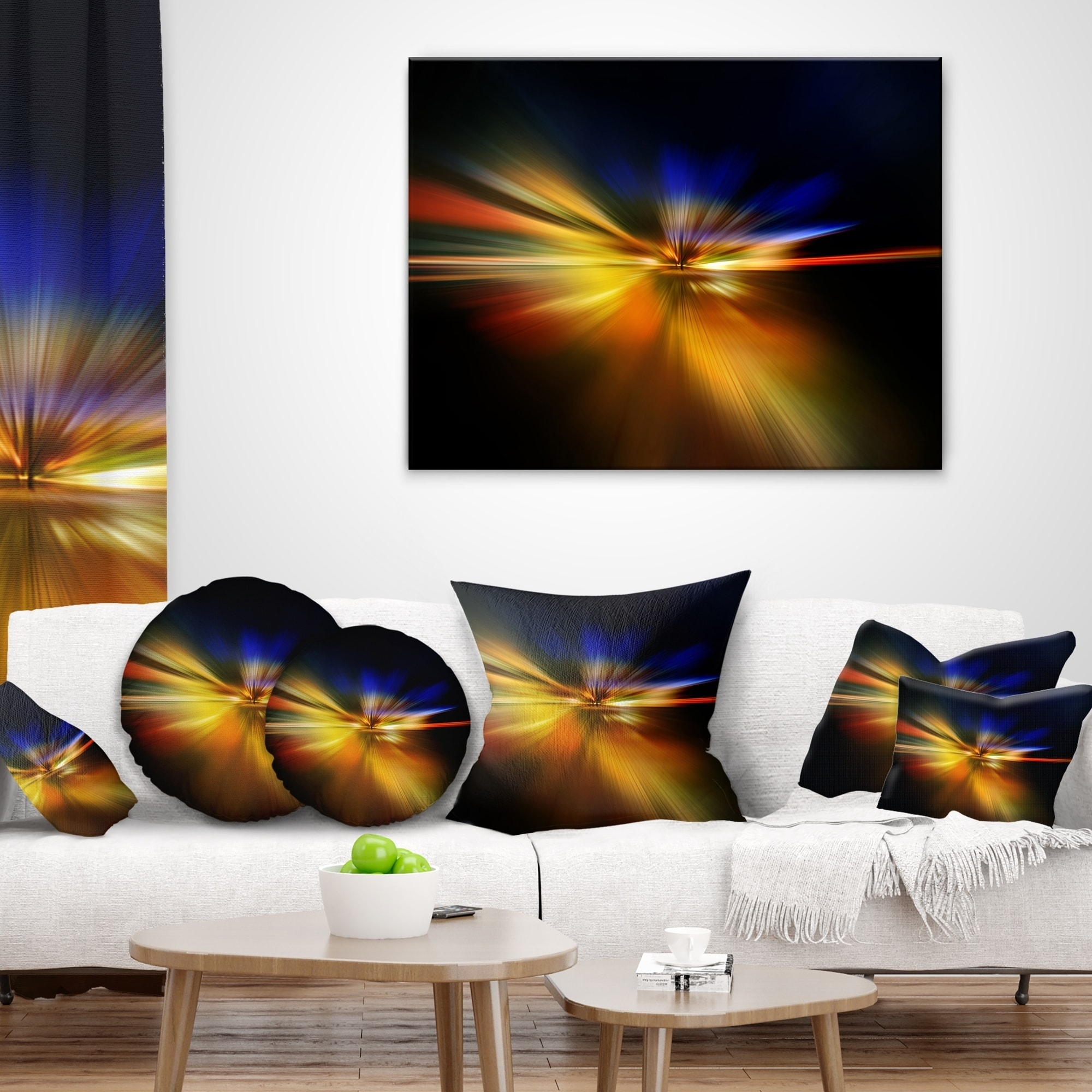 Designart CU8263-26-26 Explosion of Light in Black Abstract Cushion Cover for Living Room Sofa Throw Pillow 26 x 26