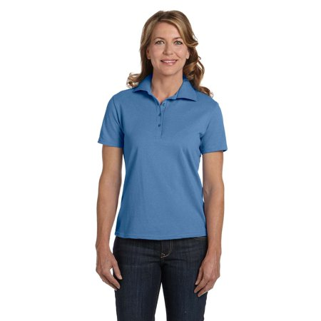 035X Comfort Soft Cotton Pique Womens Polo Shirt Size 3 Extra Large, Carolina Blue