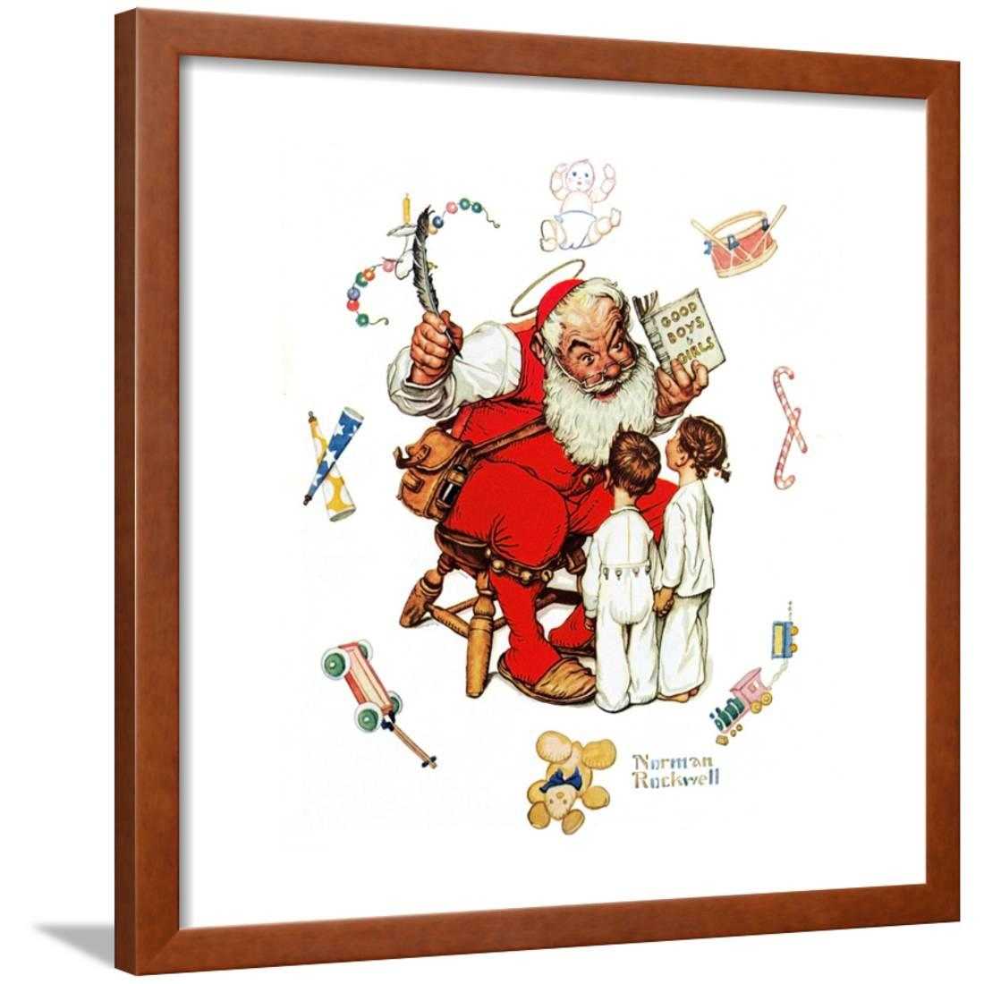 Santas Visitors Framed Giclee Print Wall Art By Norman Rockwell