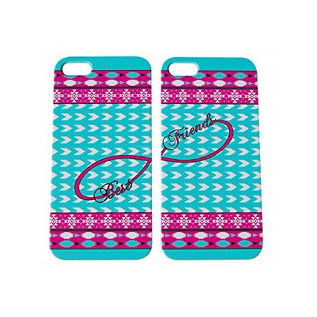 Set Of Aztec Hot Pink Blue Best Friends Phone Cover For The Iphone 6 Case For iCandy (The Best Cell Phone Cases Reviews)