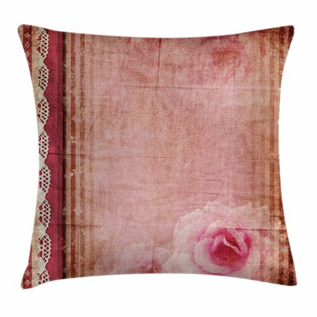 Shabby Chic Decor Throw Pillow Cushion Cover, Vintage Style Frame with Lace Borders Old Fashioned Pink Roses Print, Decorative Square Accent Pillow Case, 18 X 18 Inches, Multicolor, by Ambesonne