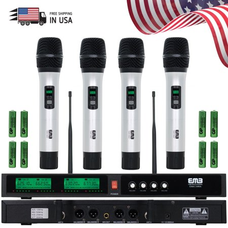 new emb audio 4 channel quad uhf handheld wireless microphone system mic 6 8 hrs. Black Bedroom Furniture Sets. Home Design Ideas