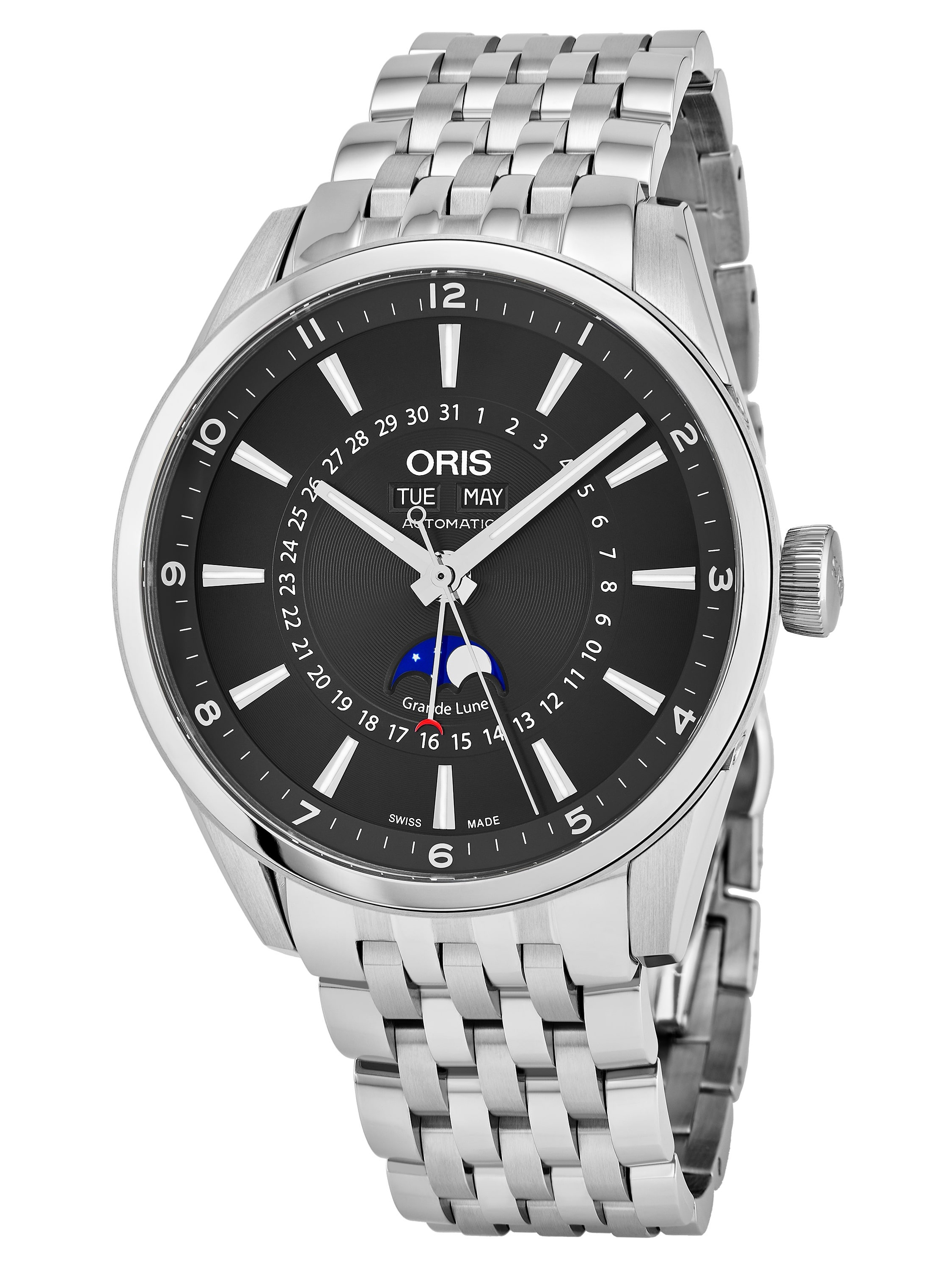 Men's 915 7643 4034 MB 'Artix' Black Dial Stainless Steel Day Date Moon phase Swiss Automatic Watch