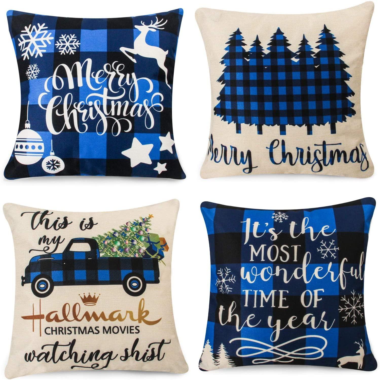 Popeven Christmas Pillow Covers Blue Black Buffalo Check Plaids Farmhouse Throw Pillow Covers Cushion Case For Sofa Couch 18 X 18 Inches Cotton Linen Set Of 4 Walmart Com Walmart Com