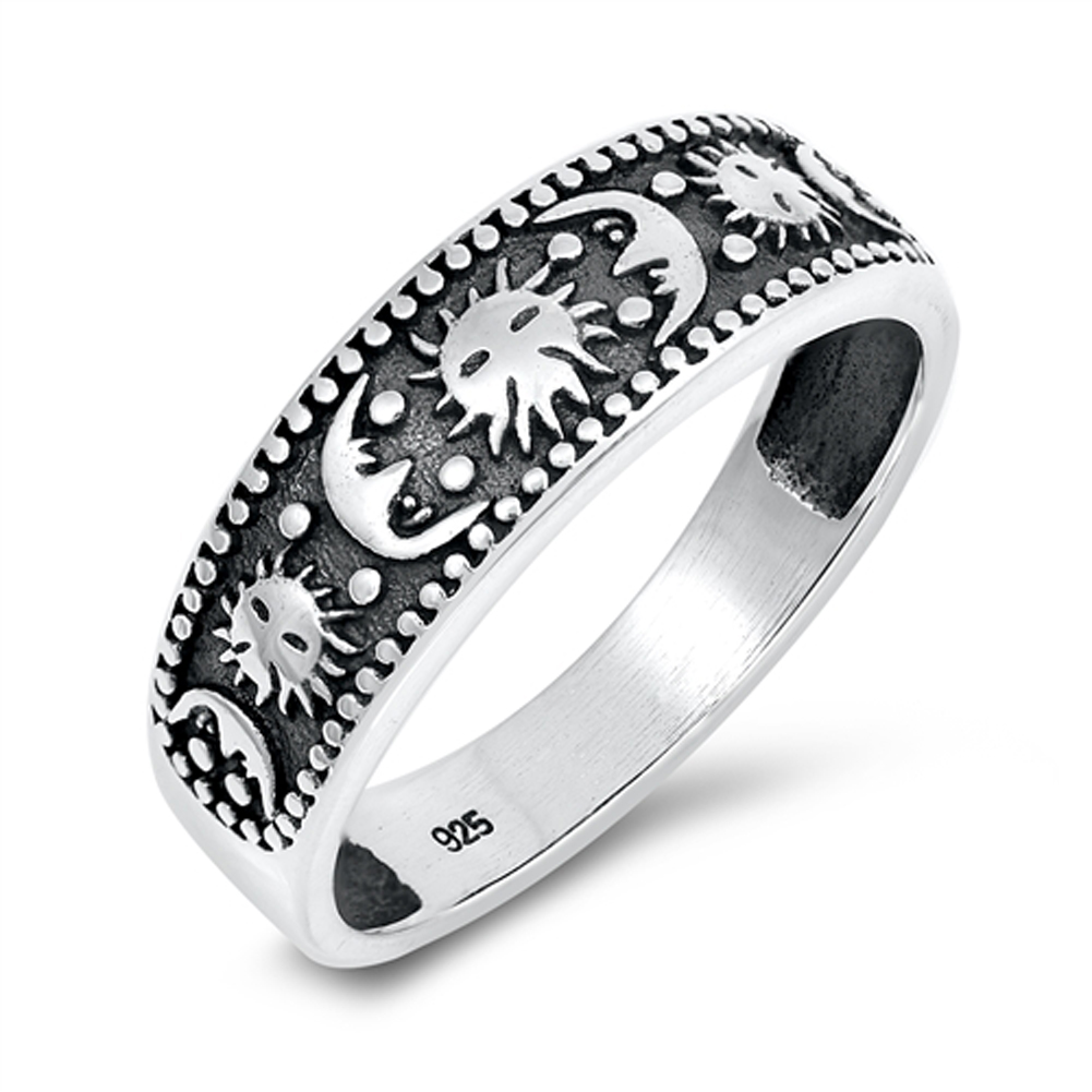 Sun Flower Moon Oxidized Mystical Ring New .925 Sterling Silver Band Sizes 5-12