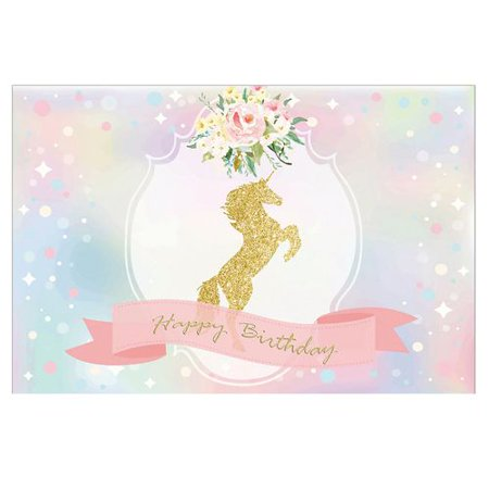 TURNTABLE LAB Unicorns Backdrop Pink Flowers Dreamlike Photography Backgrounds Cotton Cloth No Wrinkle Children Birthday Party Banner Photo Studio (Photographic Lab)