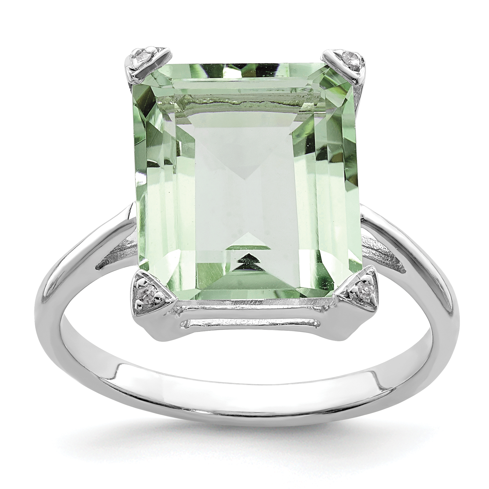 925 Sterling Silver Rhodium Green Quartz Diamondond Ring - image 2 of 2
