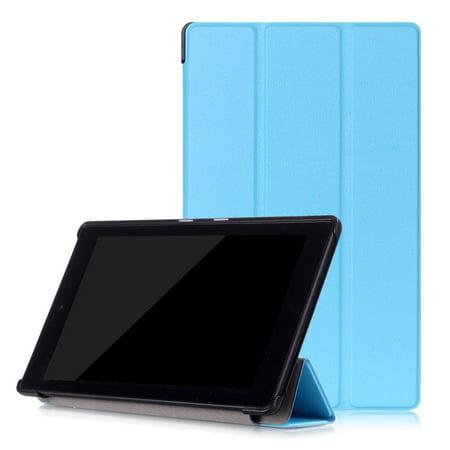 2017 7Th Gen  Amazon Fire Hd 8 Case  Epicgadget Tm  No Auto Sleep Wake Premium Leather Folding Folio Case For Fire Hd 8  8   Hd Display Tablet  Light Blue