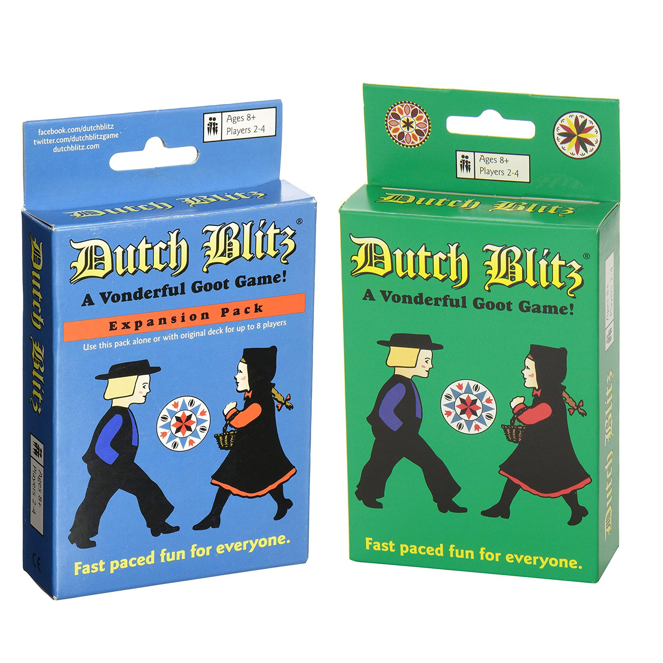 Dutch Blitz Original And Blue Expansion Pack Combo Card Game Set