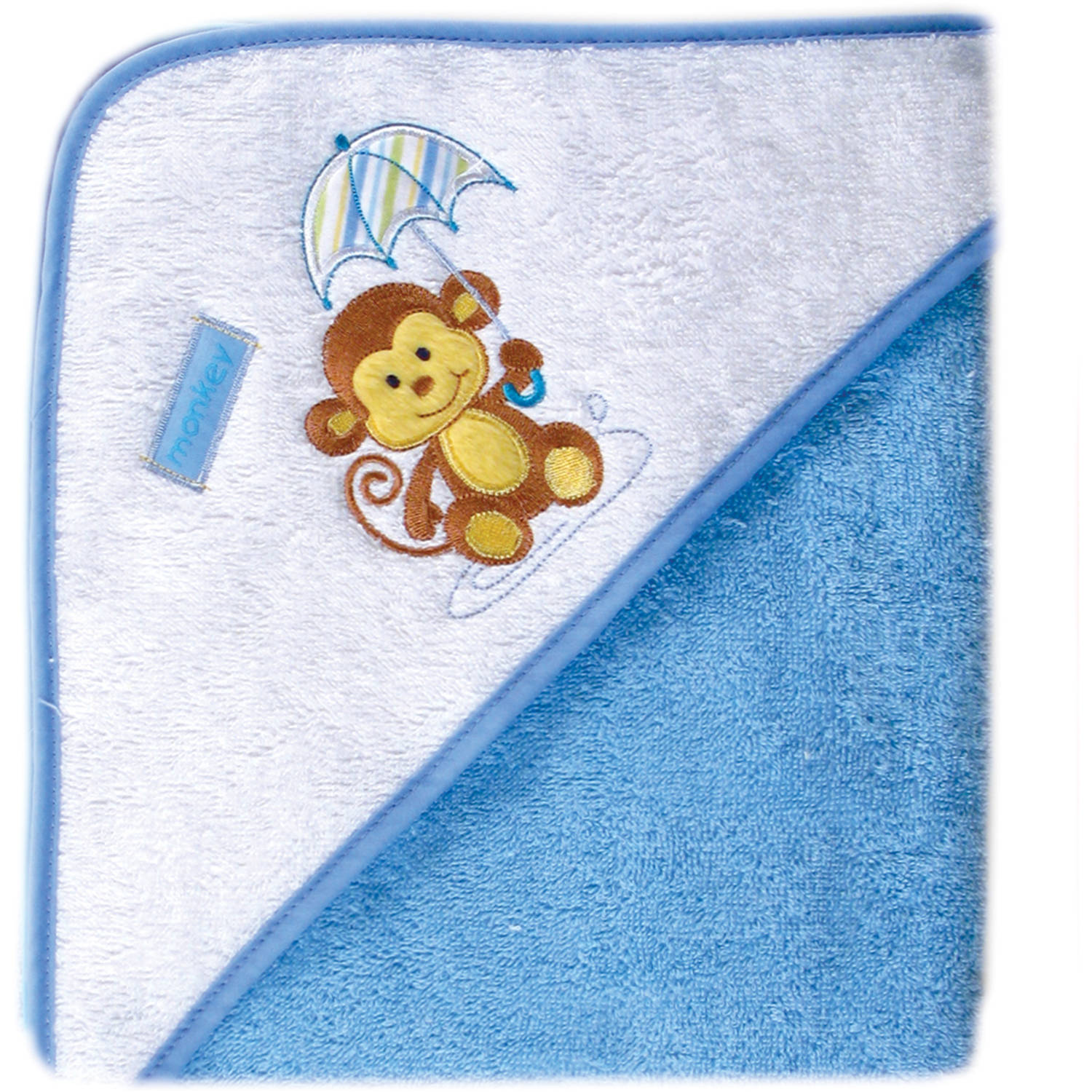 Luvable Friends Baby Woven Hooded Towel, Blue