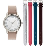 Women's Round Silver Case Watch Set, 5 Various Color Interchangeable Straps