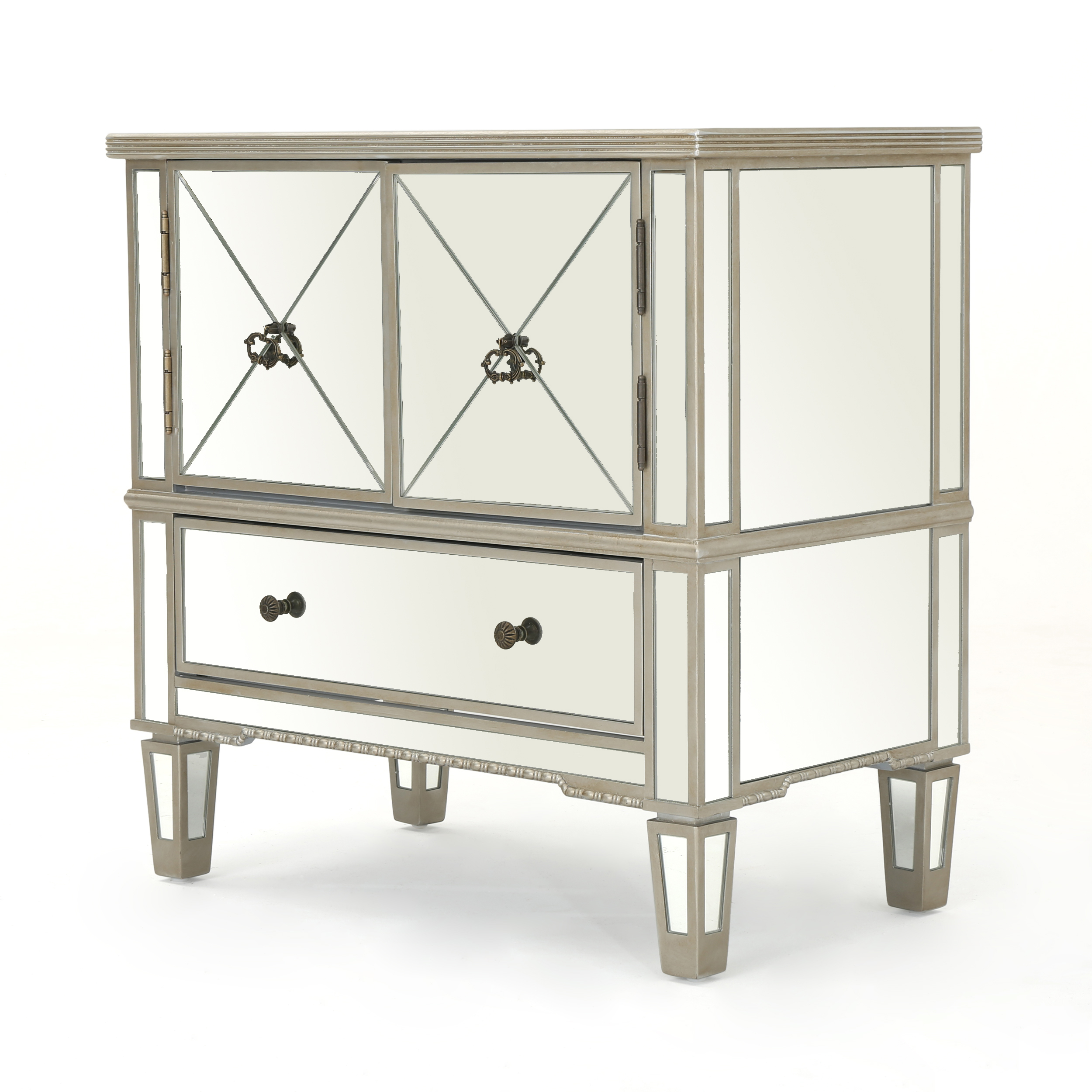 Ryley Mirrored 3 Drawer Cabinet with Faux Wood Frame, Silver