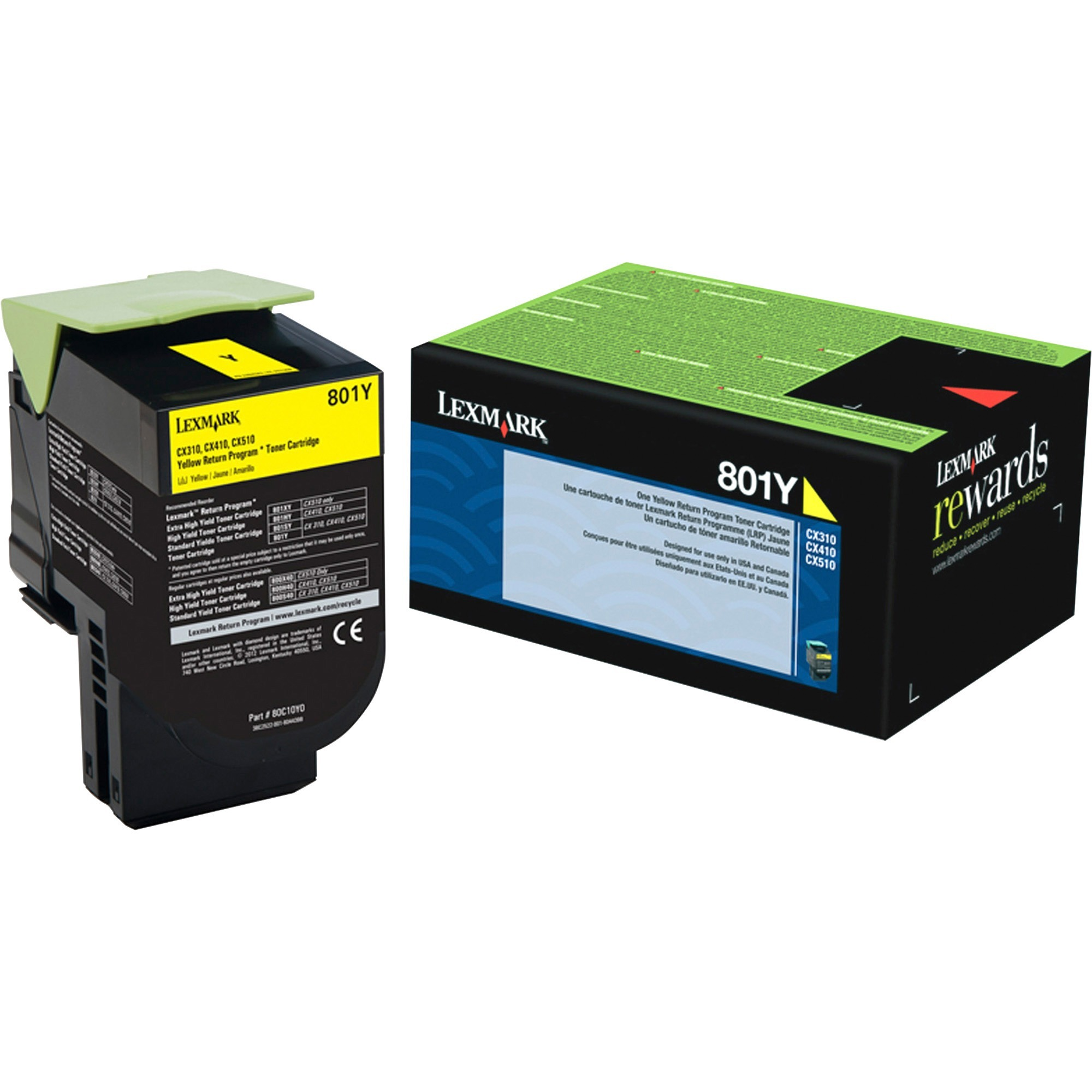 Lexmark Unison 801Y Toner Cartridge, 1 Each (Quantity)