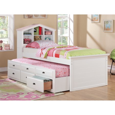 White Kids S Bookcase Twin Bed Storage Trundle Drawers