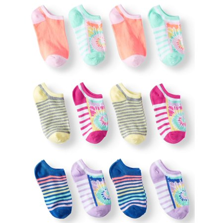 Girls' Tie Dye and Stripes 12-Pack No Show Socks, 2 Pairs of Each Pattern - Girls Striped Socks