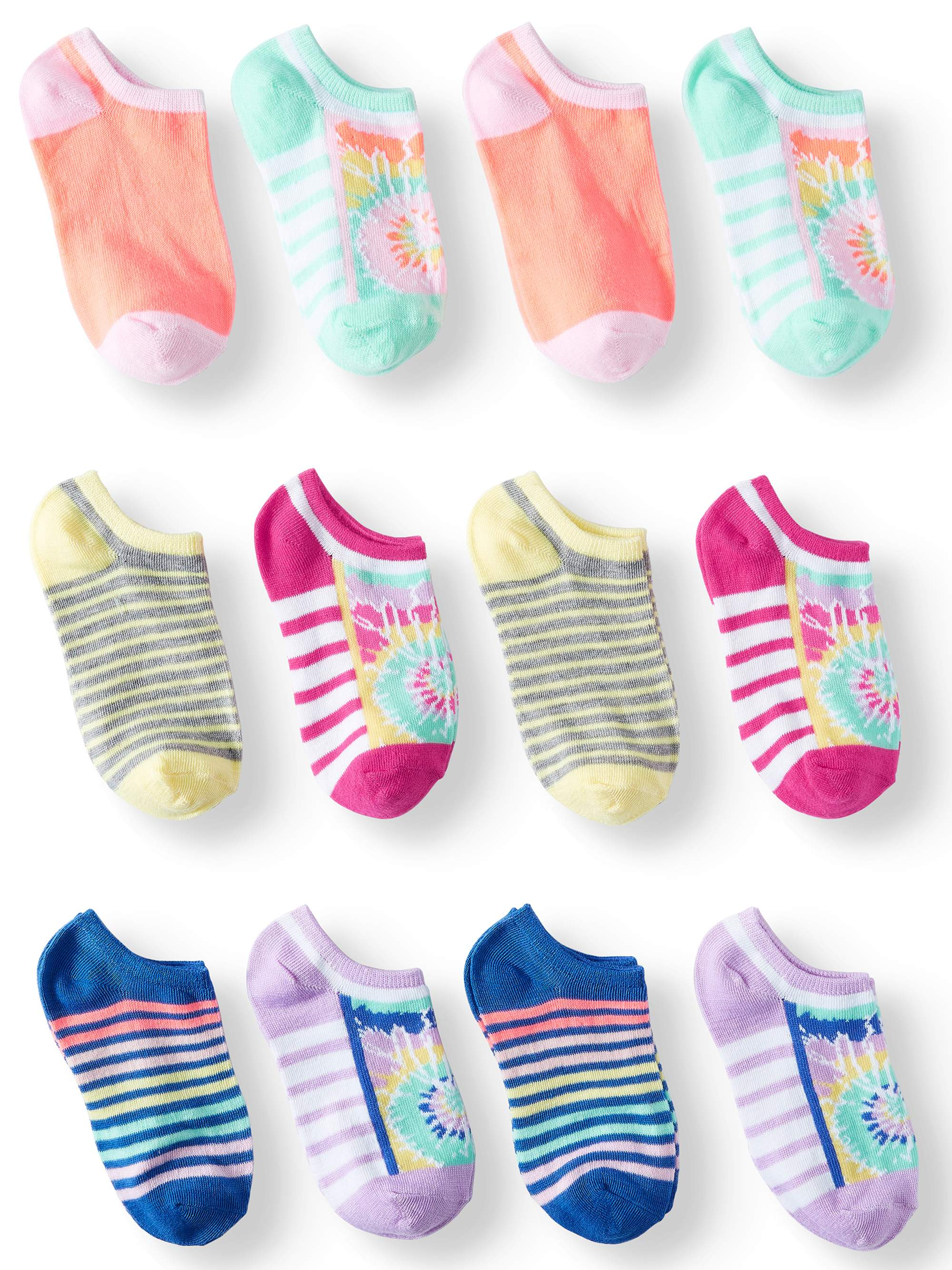 Tie Dye and Stripes 12pk No Show Socks - 2 Pairs of each pattern(Little Girls & Big Girls)