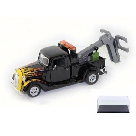 Diecast Car & Display Case Package - 1937 Ford Pickup Tow Truck, Black w/Flames - Motor Max 75341AC - 1/24 Scale Diecast Model Toy Car w/Display Case Kyosho Motor Case