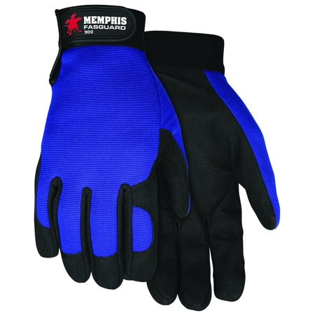 900M Fasguard Parity by Clarino Synthetic Leather Palm Multi-Task Gloves with Blue Spandex Back and Adjustable Wrist Closure, Blue/Black, Medium, 1-Pair,.., By MCR Safety