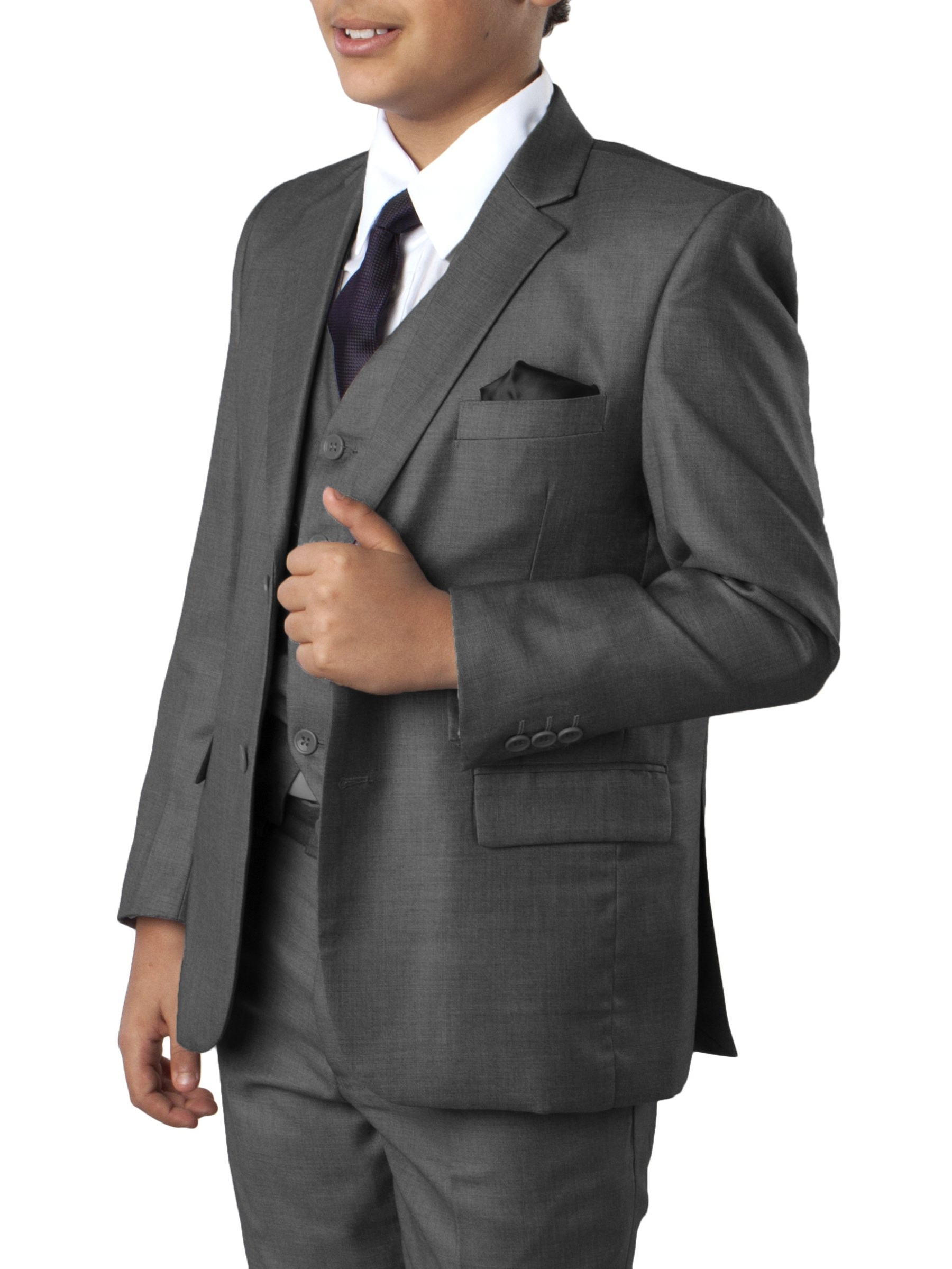 Boys Suit 5 Piece Young Boys Tuxedo Set Windowpane Including Matching Dress Shirt and Tie By Tazio
