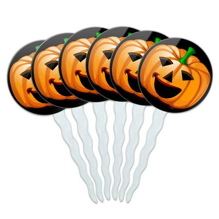 Jack O' Lantern Pumpkin Halloween Cupcake Picks Toppers - Set of