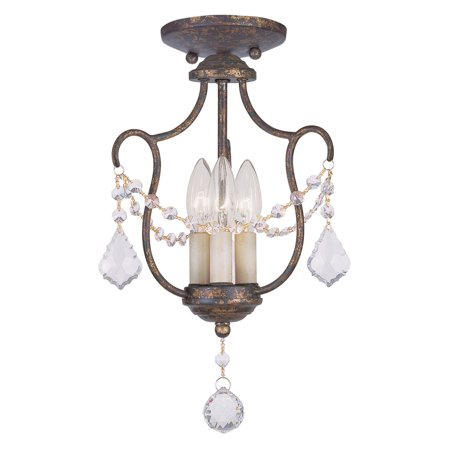 - Livex Lighting Chesterfield 3 Light Convertible Chain Hang/Ceiling Mount