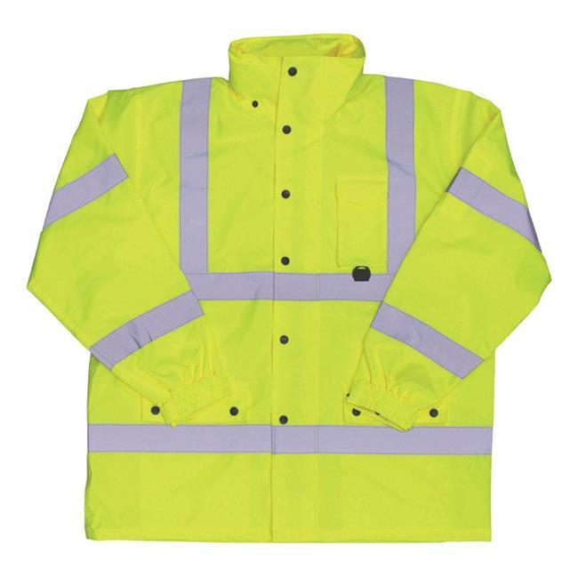 Boss 8008695 Hi-Vis Yellow Polyester Unisex Rain Jacket, 3XL - image 1 de 1