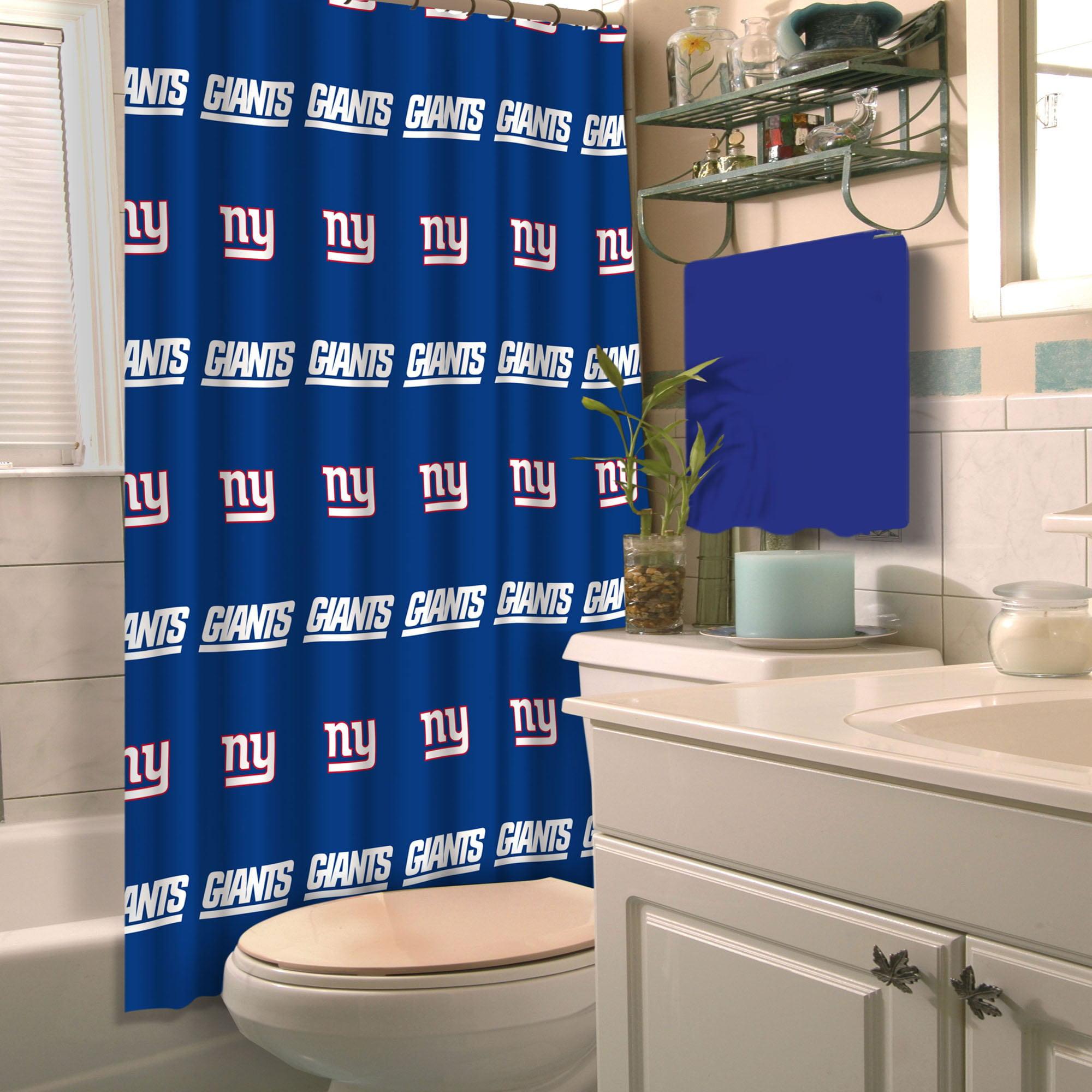 "New York Giants 72/"" x 72/""  Waterproof Bathroom Shower Curtain Accessory Set"