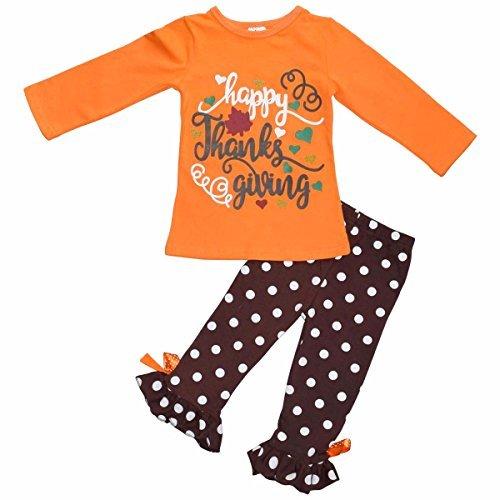 "Unique Baby Girls 2 Piece ""Happy Thanksgiving"" Orange and Brown ..."