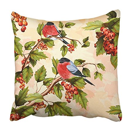 ARHOME Blue Flower Berry Tree Rowan with Leaves and Bird on It Watercolor Pattern Pink Pillowcase Cushion Cover 20x20 inch](Roman Leaves)