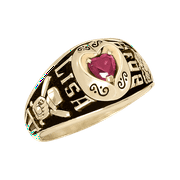 Personalized Women's Heart Class Ring available in Valadium Metal and Gold