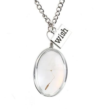 Fancyleo 2 Pcs Dandelion Pendant Necklace Glass Oval Flower Jewelry Girls -
