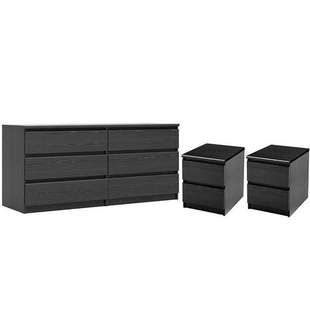 3 Piece Bedroom Set With 6 Drawer Double Dresser And Two 2 Drawer Nightstands In Black Woodgrain Walmart Com Walmart Com