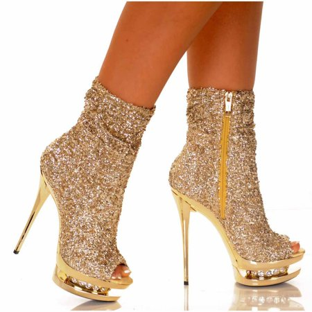 DIAMOND-31, 5 1 2'' Open Toe Sequin Ankle Boots
