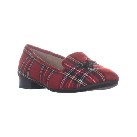 Womens CC35 Femmiie Front Bow Slip On Loafer Flats, Red Plaid