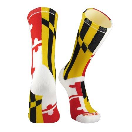 TCK Elite Flag Socks - MARYLAND - White/Red/Gold/Black - proDRI NEW (Gold And Black Nike Elite Socks)