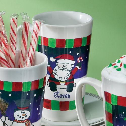 Personalized Christmas Latte Mug, Santa