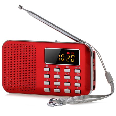 Multifunction Mini Portable AM FM Radio Digital Media Speaker MP3 Music Player AUX/TF/USB Disk with LED Screen Display and Emergency Flashlight Function Earphone Jack Rechargeable ()