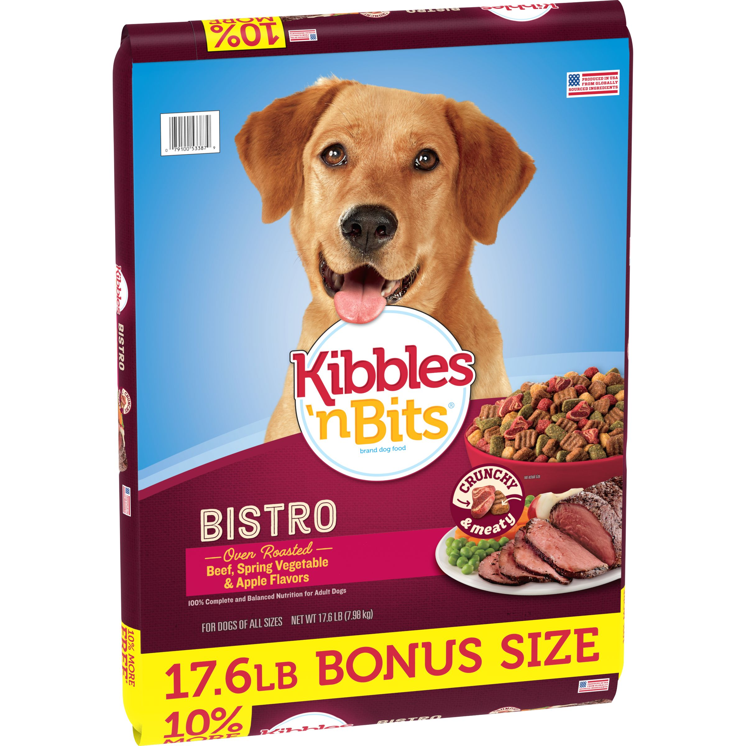 Kibbles 'n Bits Bistro Oven Roasted Beef Flavor Dog Food, 17.6-Pound