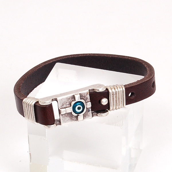 New Leather Bracelet With Evil Eye Good Luck Charm Adjustable Length In Gift Box