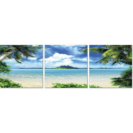 Furinno SeniA Coconut Tree Scenery 3-Panel MDF Framed