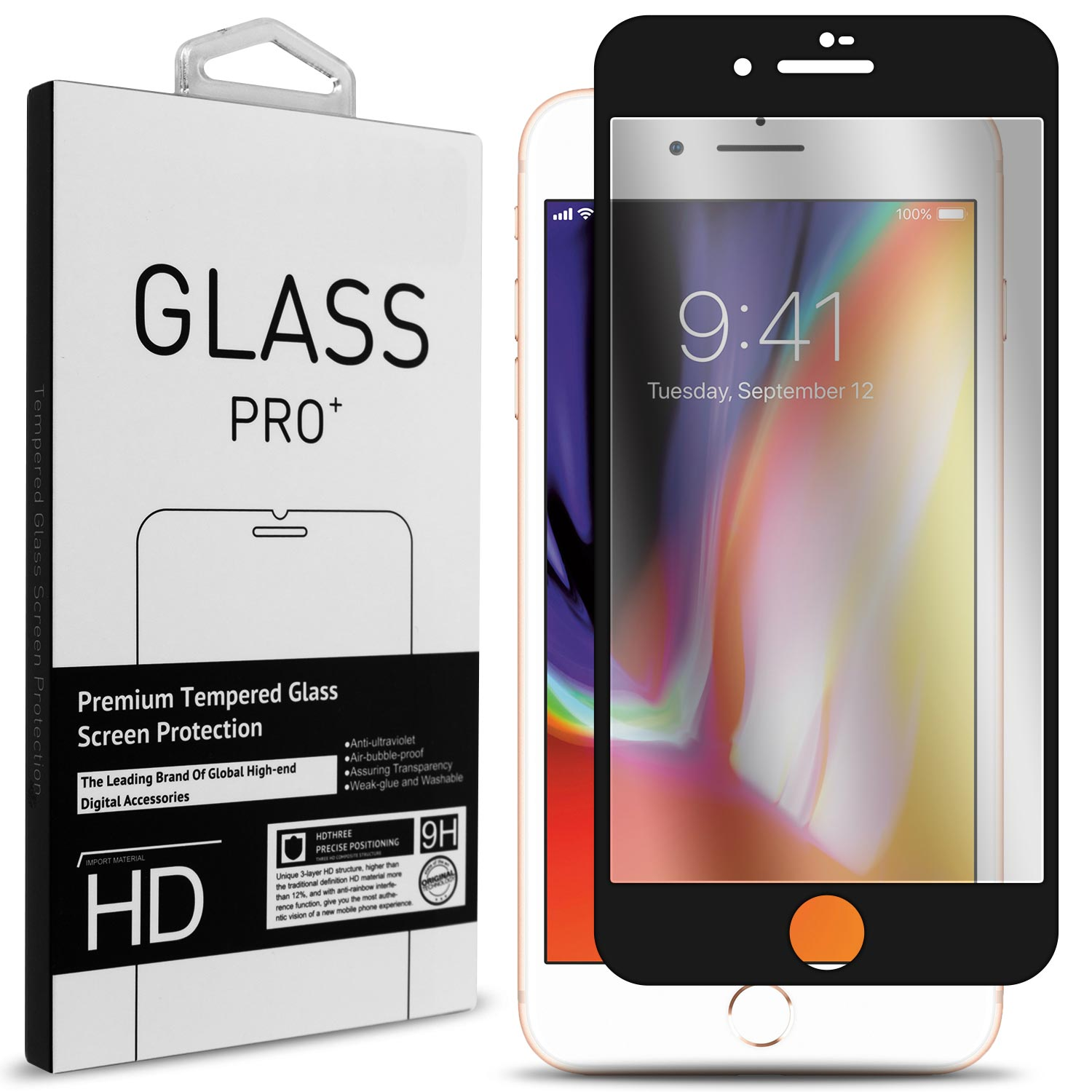 CoverON Apple iPhone 8 / iPhone 7 Tempered Glass Screen Protector - InvisiGuard Series Full Coverage 9H with Faceplate (Case Friendly)