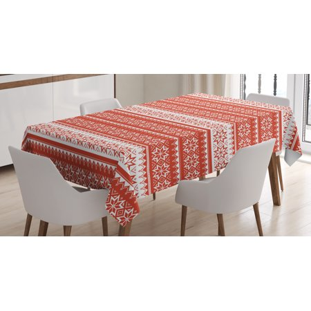 Printed Cross Stitch Tablecloth - Nordic Tablecloth, Norwegian Swedish Traditional Motifs Cross Stitch Style Knitting Pattern Vintage, Rectangular Table Cover for Dining Room Kitchen, 52 X 70 Inches, Scarlet White, by Ambesonne