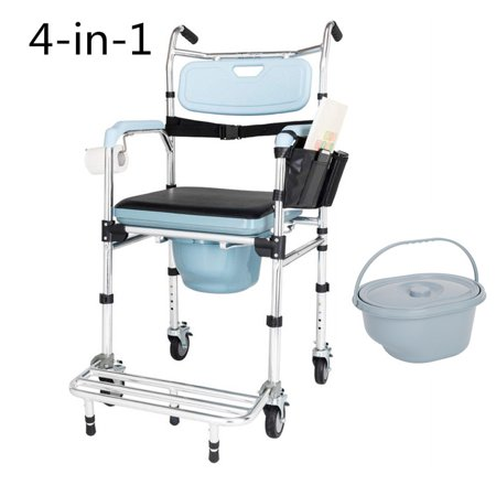 Folding Bedside Commode Chair wheelchair for Toilet with Wheels & Pedal 4 in 1 Multifunctional Portable Aluminum Bidet Bath Shower Chair for Elder Disabled People Pregnant