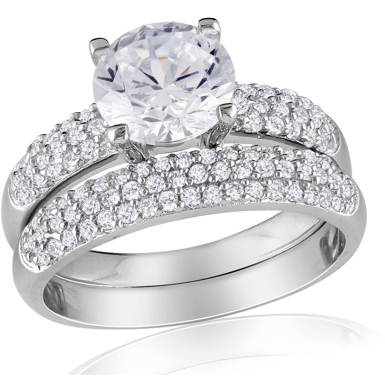 Miabella 4-3 8 Carat Cubic Zirconia Sterling Silver Bridal Set by Delmar Manufacturing LLC