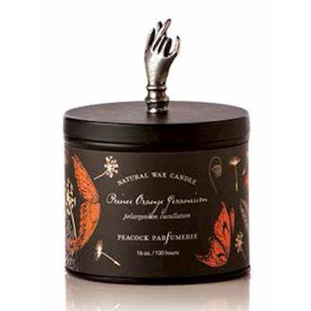 PRINCE ORANGE GERANIUM Peacock Parfumerie Botanist Tin 16 oz Candle - Peacock Candles