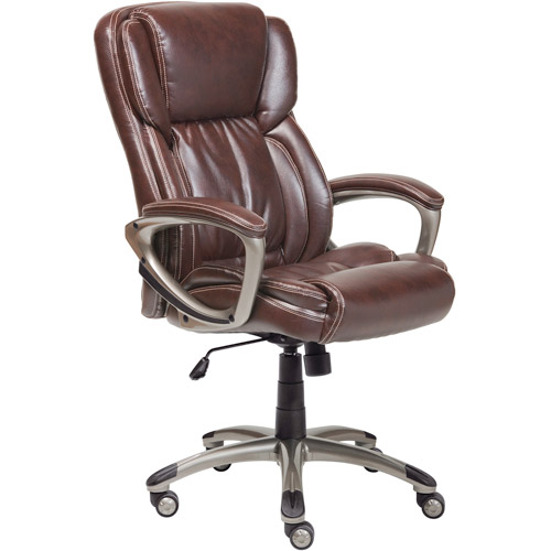 Serta Executive Bonded Leather Office Chair, Biscuit Brown
