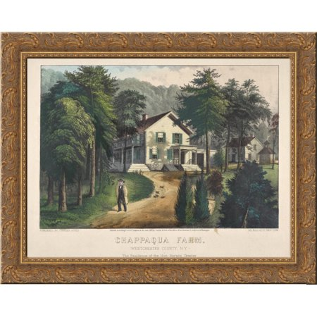 Chappaqua Farm, Westchester County, N.Y., The Residence of Hon. Horace Greeley 24x20 Gold Ornate Wood Framed Canvas Art by Currier and (Best Places To Live In Westchester Ny)